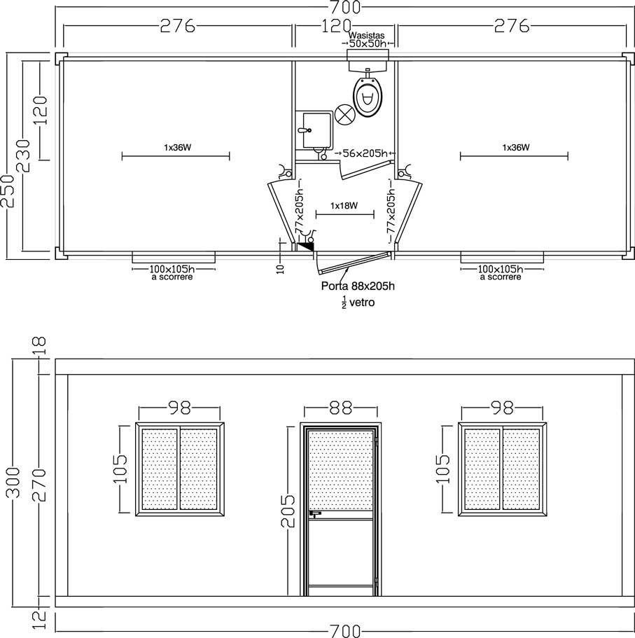 Ufficio 2 stanze wc centrale - Moduli bagno prefabbricati ...