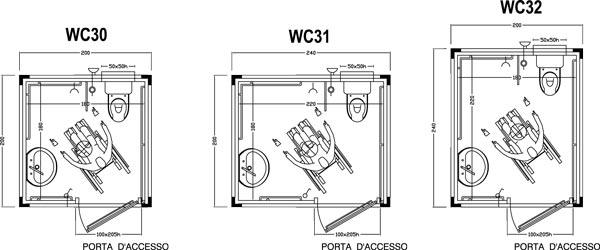 Wc prefabbricati per disabili servizi igienici per disabili - Misure bagno minimo ...