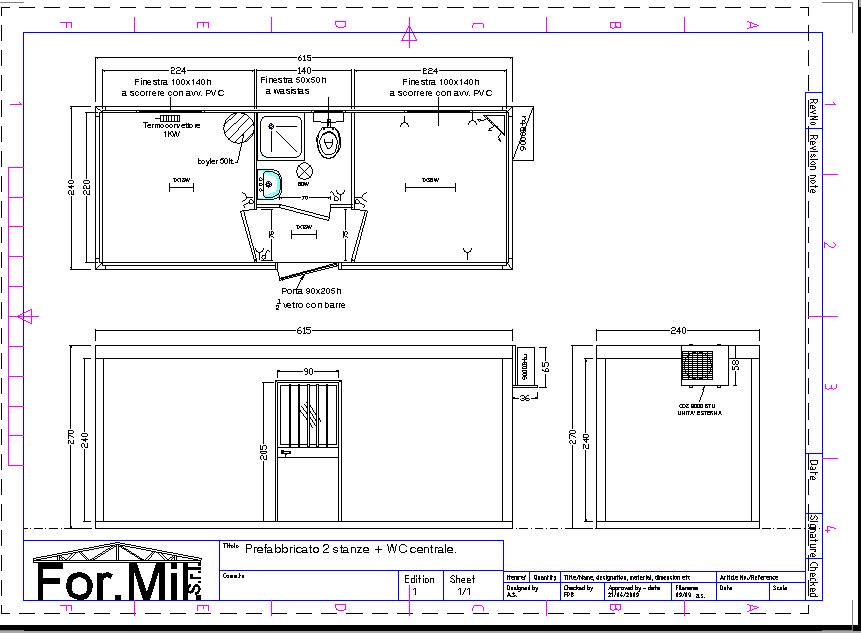 Ufficio 2 stanze wc centrale for Arredi spogliatoi dwg